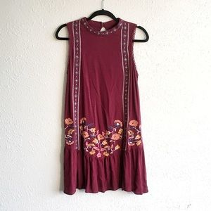 Maroon Shift Dress with Floral Embroidery